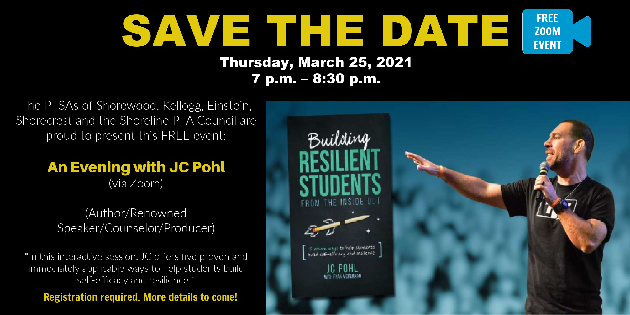 Save the date 3/25 – Building Resilient Students